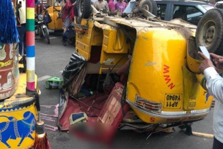 Representational image of a damaged auto rickshaw