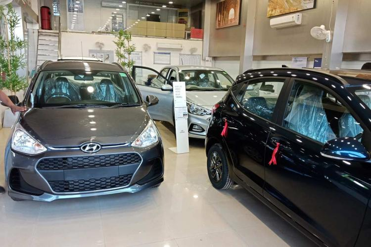 Passenger cars in a showroom