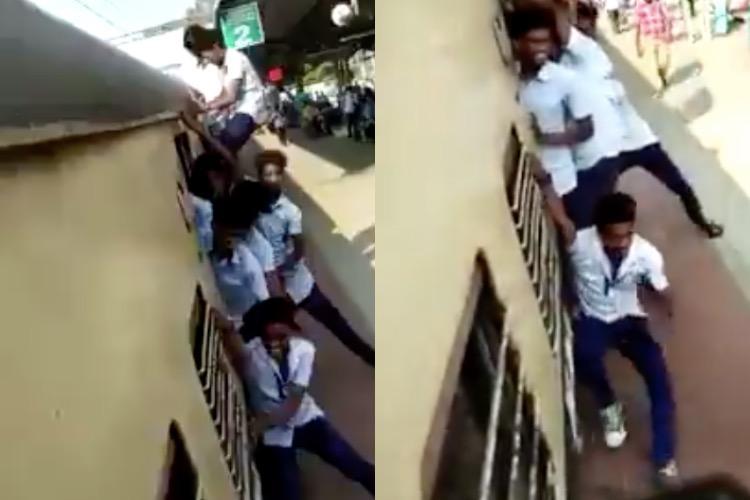 Video Students perform dangerous stunts on footboard of Chennai train