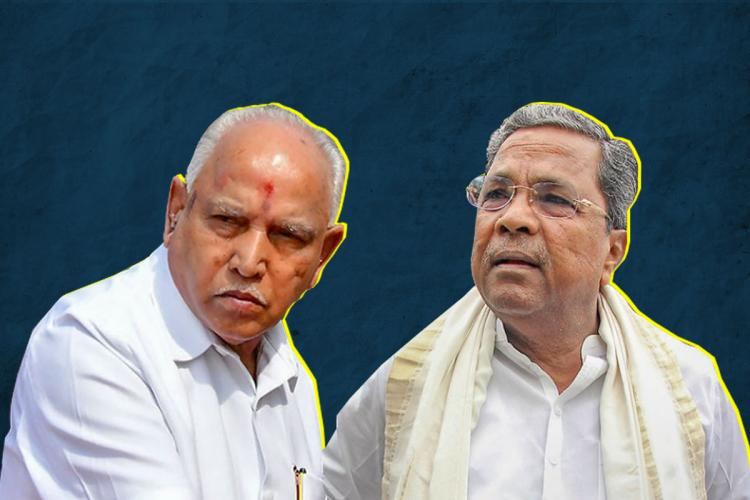 Picture of Yediyurappa on the left and Siddaramaiah on the right