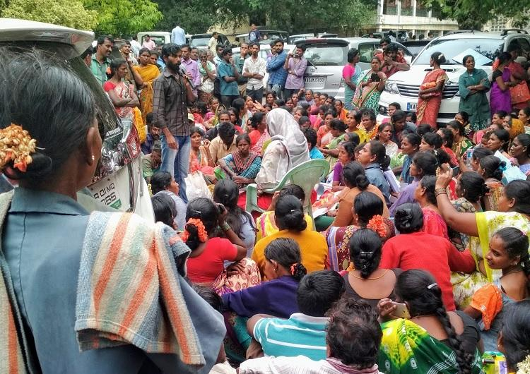 Pourakarmikas in Bengaluru protest over unpaid wages pose questions to BBMP Mayor