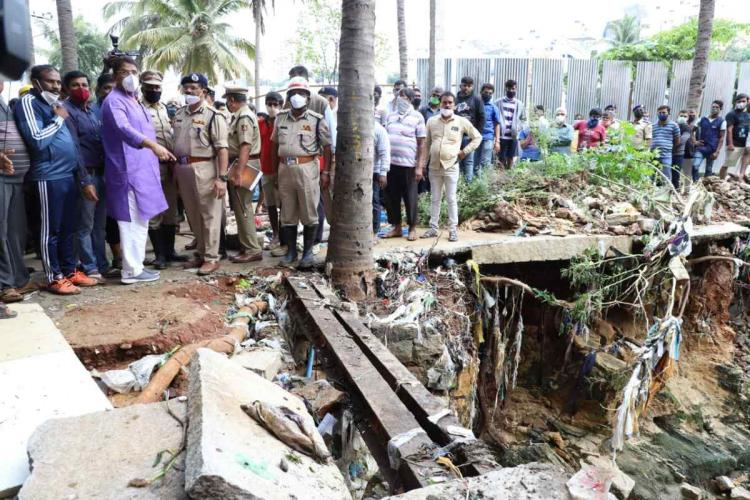 Minister R Ashoka inspecting flooded areas in Bengaluru
