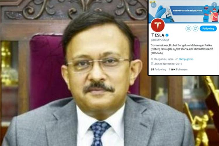 Picture of BBMP Commissioner Gaurav Gupta with a screengrab of the hacked BBMP Twitter handle