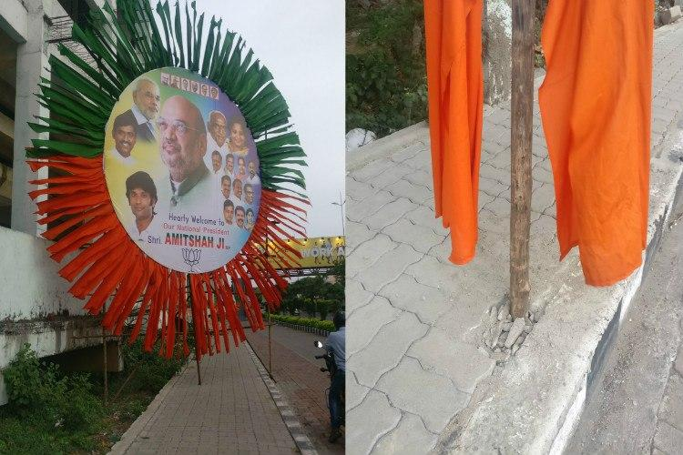 Chennai footpaths damaged for banners This time to welcome BJPs Amit Shah