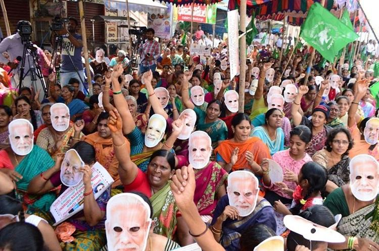 Women pray at Amaravati foundation laid by PM Modi to protest shifting of AP capital