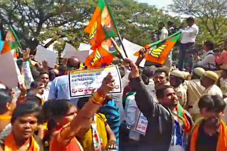 The politicking over Mahadayi BJP and Congress protest outside KPCC office in Bengaluru