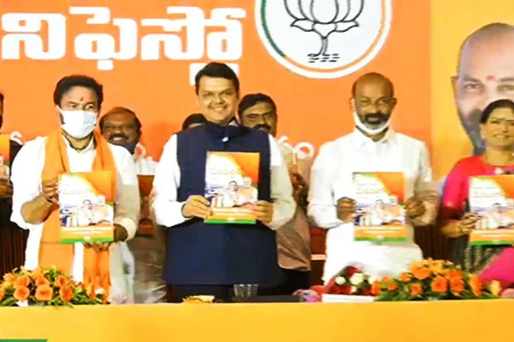 Former CM of Maharashtra Devendra Fadnavis releasing the manifesto of the BJP