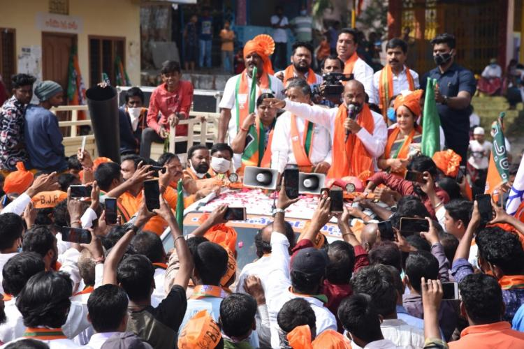 BJP state president Bandi Sanjay addressing the crowd at a road show