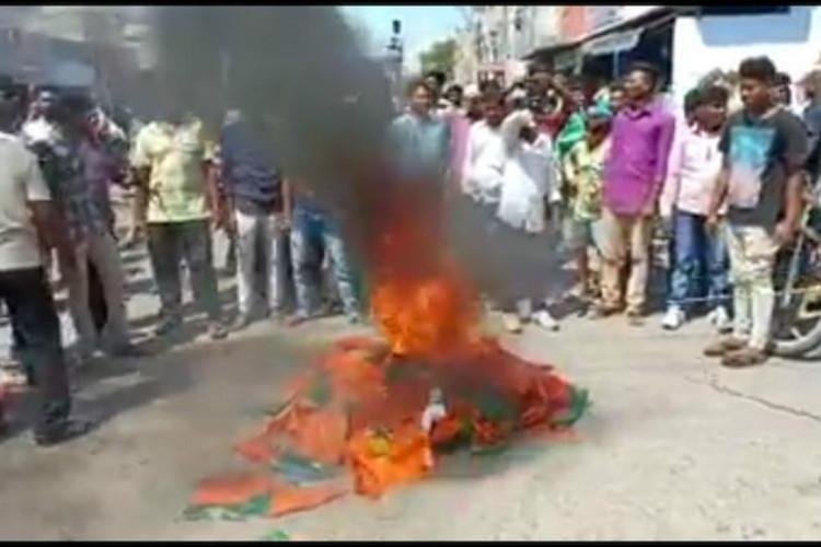 Protestors burn BJP flags in Andhra as anti-Christian pamphlets allegedly distributed