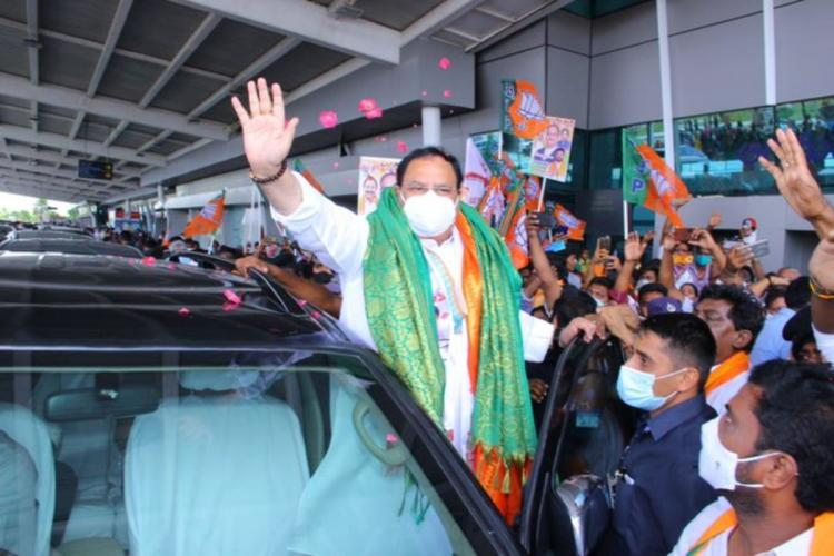 BJP national president being received at Tirupati airport by BJP cadres