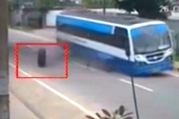 Scary video shows wheel rolling off from moving Bluru bus Freak accident or poor maintenance