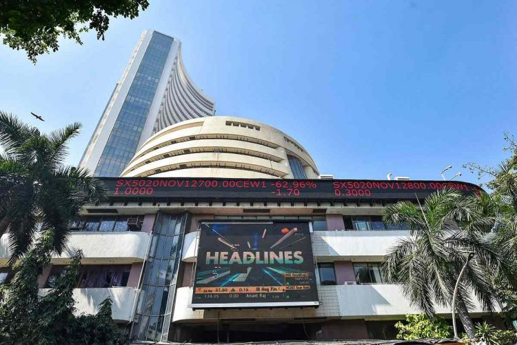 The Bombay Stock Exchange building with stocks visisble on screen