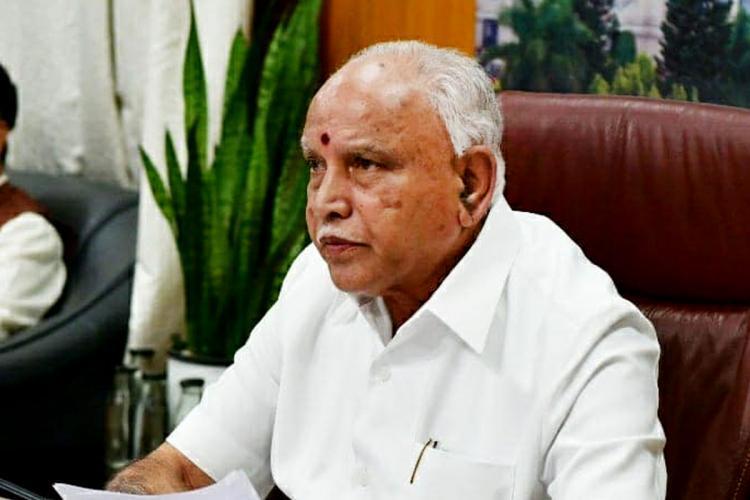 Karnataka Chief Minister BS Yediyurappa seated looking away from camera