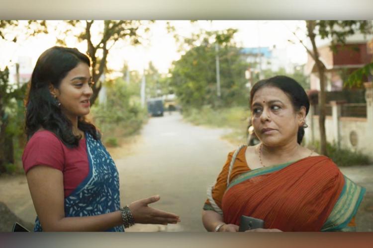 B Selvi and Daughters Tamil short film still showing actors Gayathrie Shankar and Kalairani