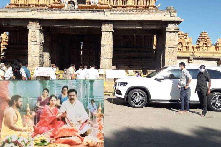 BY Vijayendra son of Karnataka CM BS Yediyurappa at a Mysore temple