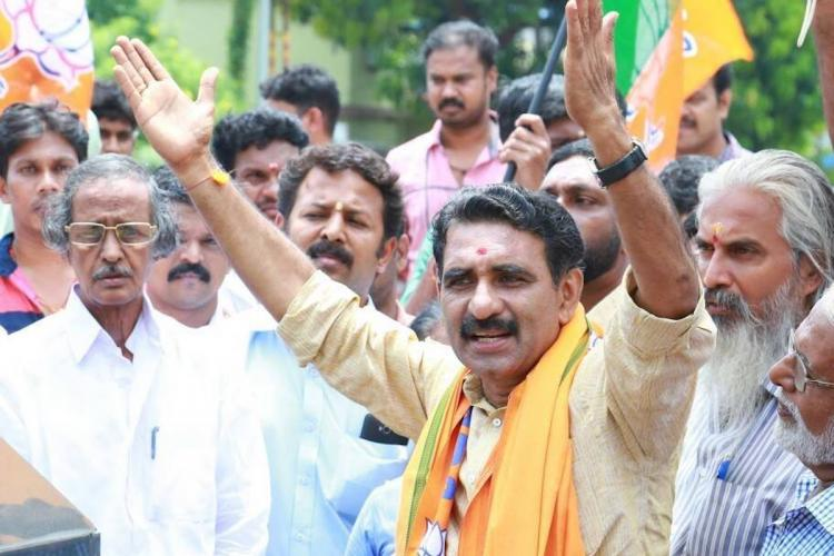 BJP candidate B Gopalakrishnan wearing saffron scarf and attending a rally