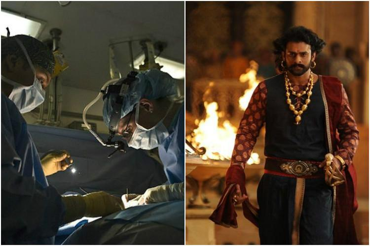 Video Doctors in AP perform brain surgery on patient as she watches Baahubali 2