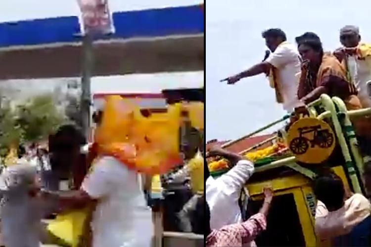 TDP MLA Balakrishna chases and assaults his own party worker at rally