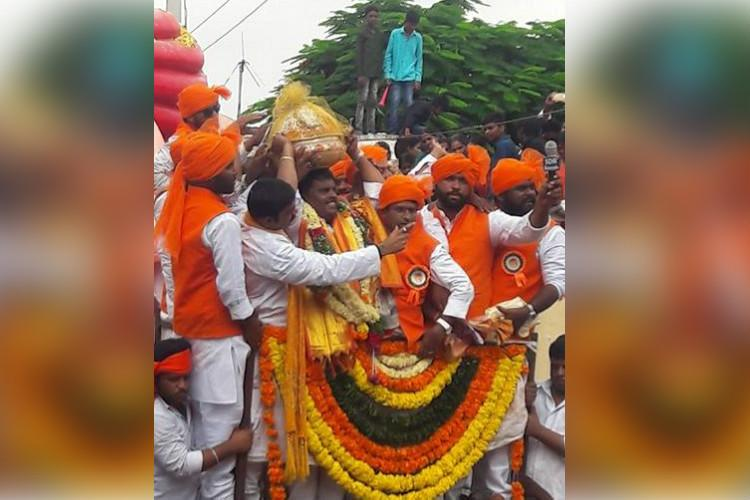 Indias most expensive laddu 21 kg Ganesh laddu goes for whopping Rs 156 lakh at Hyd auction