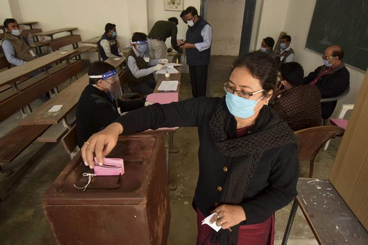 Ballot paper used for polling in a place in India