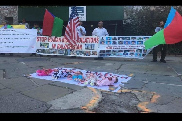 Balochis Indians protest outside UN against Pakistan