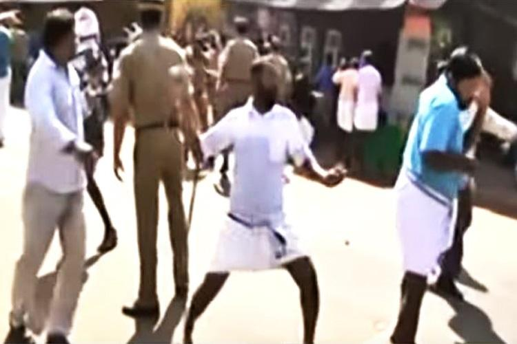 AKG row Rotten eggs thrown at VT Balram allegedly by CPI M workers