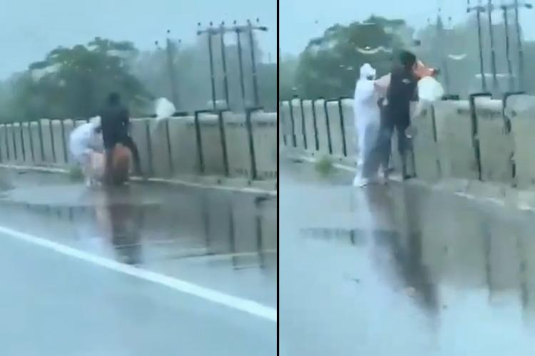 Screengrab from a video from Balrampur of a COVID-19 patients body being thrown into river in Uttar Pradesh