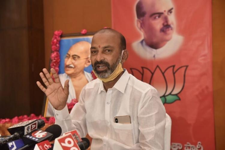 Telangana BJP President Bandi Sanjay Kumar speaks to the media