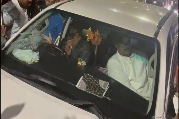 Screenshot of the attack on Bandi Sanjay's car