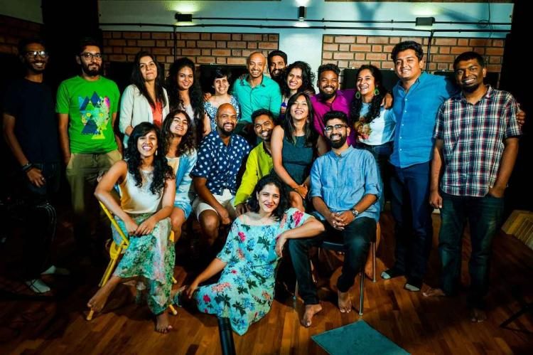 Member of the Bangalore Broadway Company in a group photo