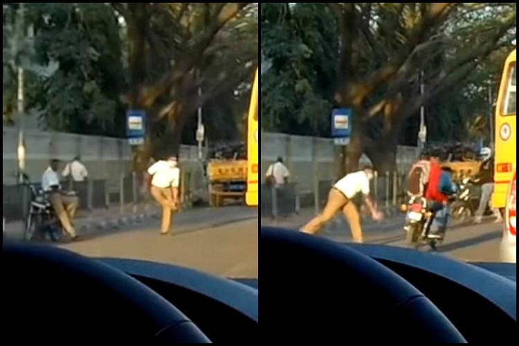 Watch Bengaluru traffic cop hurls shoe at two bike riders not wearing helmets