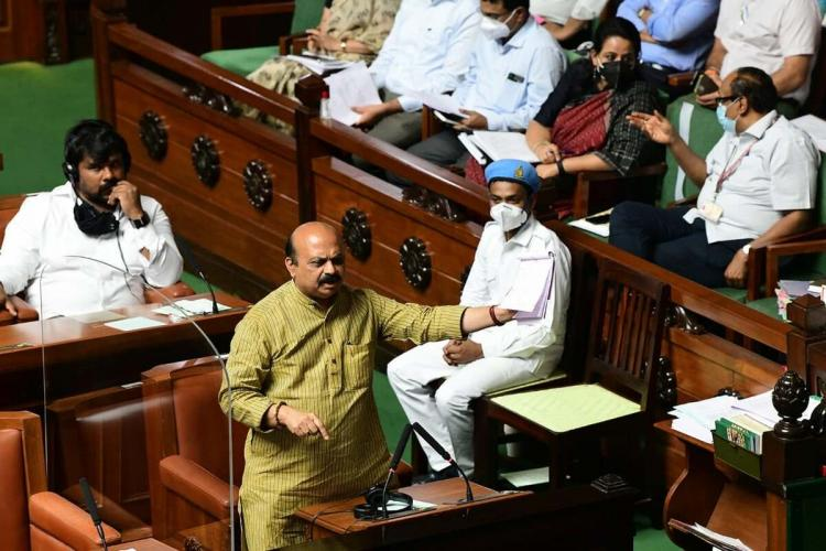 Chief Minister Basavaraj Bommai speaking in the Assembly