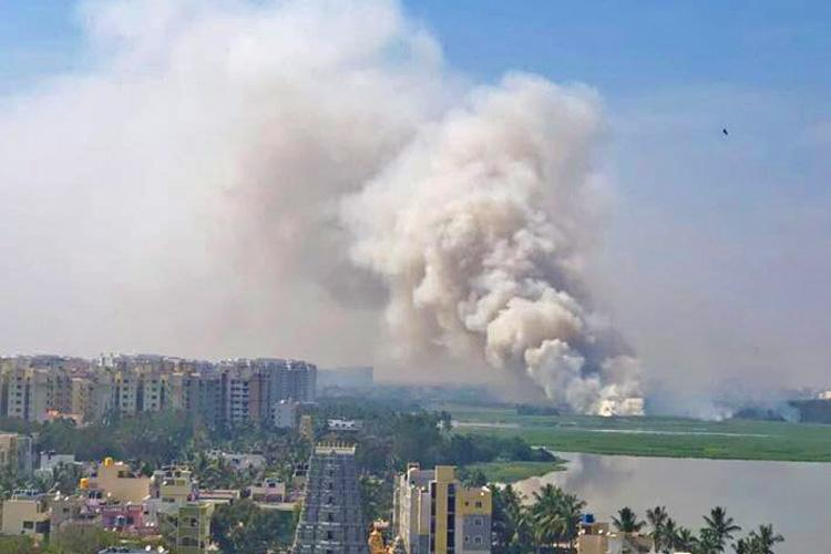 Fiery Friday Bengalurus Bellandur Lake catches fire for the first time in 2018