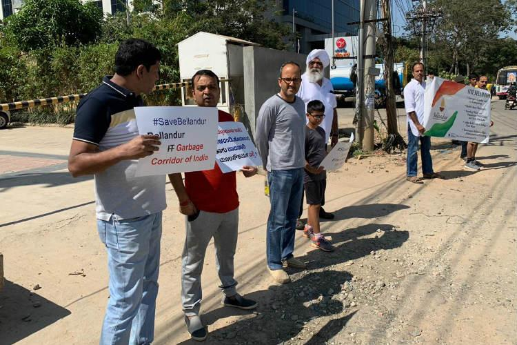 Save Bellandur Bengaluru residents form human chain to protest civic apathy