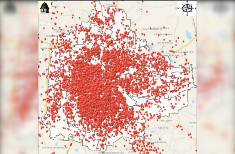 Map showing spread of positive cases in BBMP as on July 14 Red colour points represent location of positive cases
