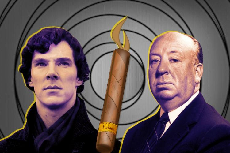 A stylised image of Benedict Cumberbatch as Sherlock Holmes Alfred Hitchcock and a cigar in the middle