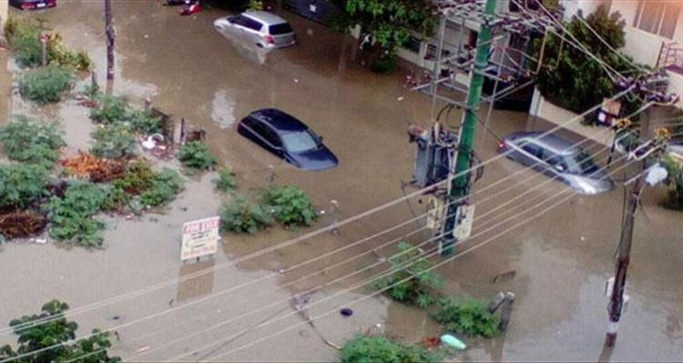 Urban Flooding Caused By Plastic Clogging Poor Drainage