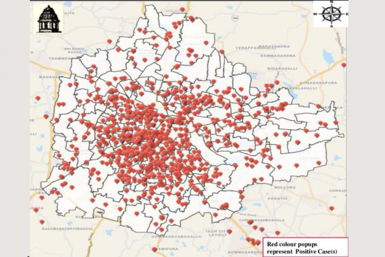 bbmp map of containment zones in bengaluru july 5