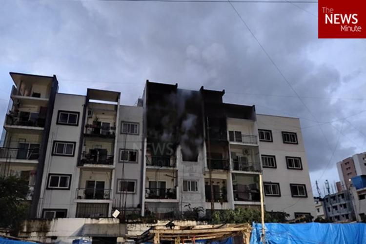 The apartment where fire broke out after the fire was doused