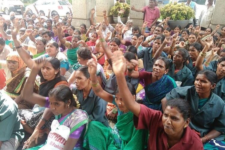 No pay for three months no sick leaves Bengalurus pourakarmikas protest outside BBMP office