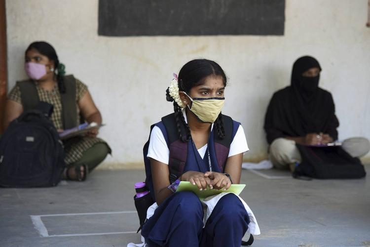 Student looking serious before an SSLC exam in Bengaluru