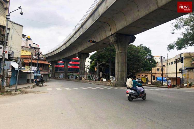 A deserted street in Bengaluru amid lockdown