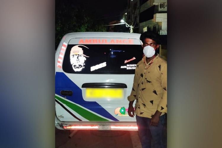 Bengaluru ambulance driver arrested for abandoning deceaseds body standing in front of the ambulance