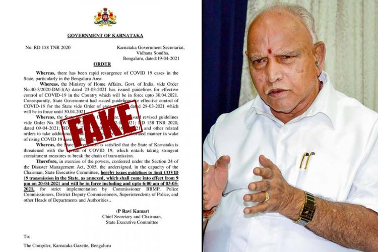 COVID-19 restrictions fake document, Karnataka CM Yediyurappa