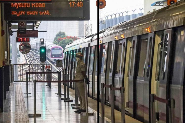 A police official stands in front of a halted metro train at a metro station in Bengaluru