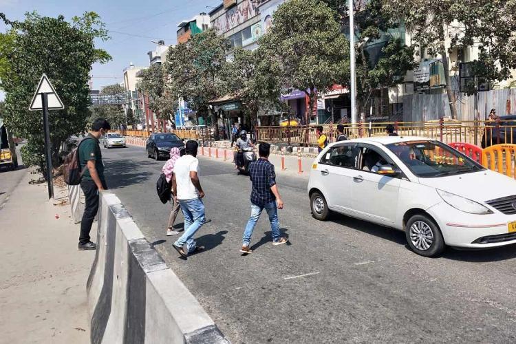 Pedestrians crossing the ORR