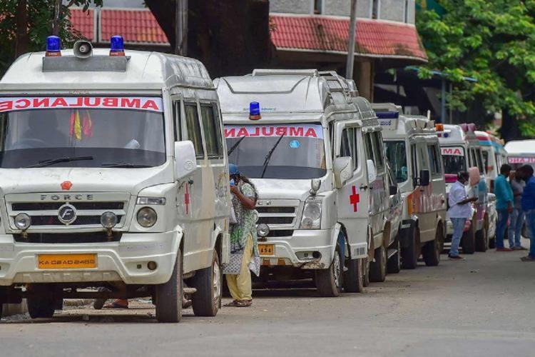 A queue of ambulances in Bengaluru