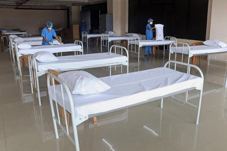 Empty beds at a COVID care centre in bengaluru