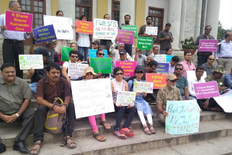 Bring back ACF Ravindra Ktaka activists stage protest over transfer order