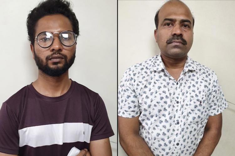 Collage of two of the men accused of hoarding Remdesivir in Bengaluru